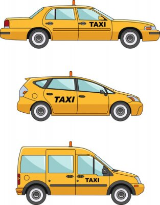 Adesivo Taxi auto su uno sfondo bianco in FlatStyle