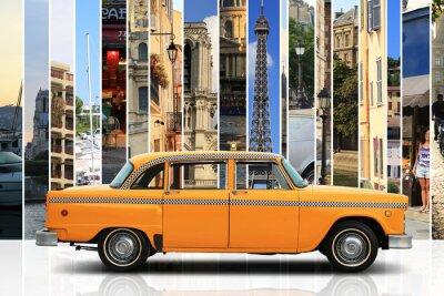 Adesivo Taxi, retro colore dell'automobile arancione su sfondo bianco