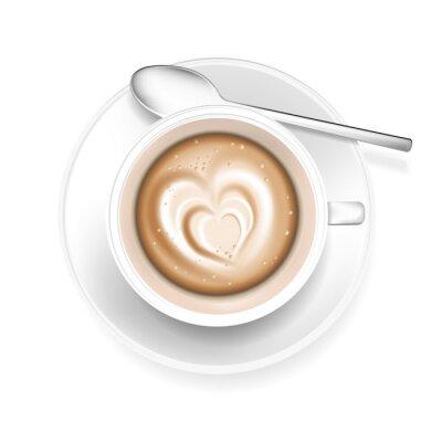 Adesivo Tazza di caffè a forma di cuore in poliuretano