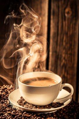 Adesivo Tazza di caffè Aroma con semi tostati