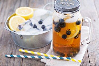 Adesivo Tè di ghiaccio con il limone e mirtilli