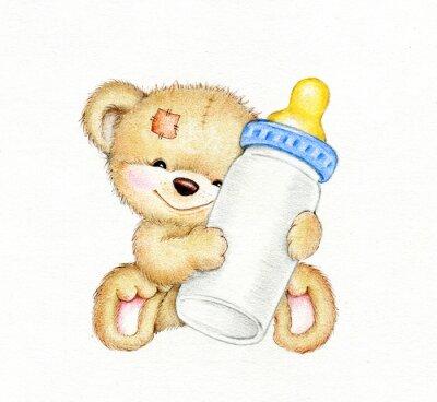 Adesivo Teddy bear con una bottiglia di latte