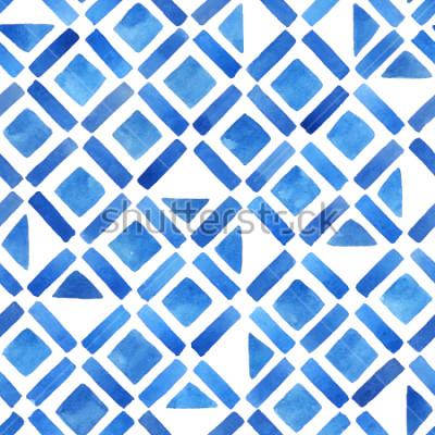 Adesivo Tegola geometrica acquerello astratto. Modello senza cuciture in blu