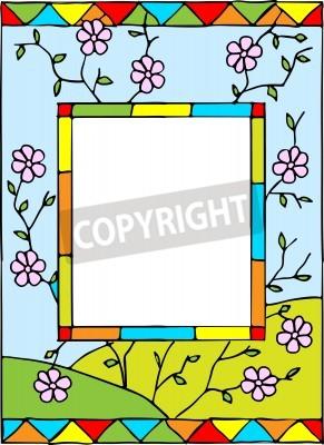 Adesivo Telaio con fiori primaverili. vetro colorato in stile. Illustrazione vettoriale.