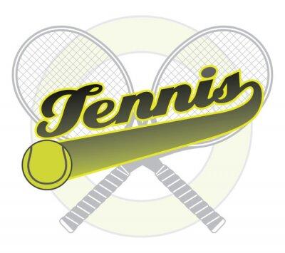 Adesivo Tennis Con Coda Banner è un esempio di un disegno di tennis con la parola di tennis con un banner coda per il tuo testo, palla da tennis e racchette da tennis.