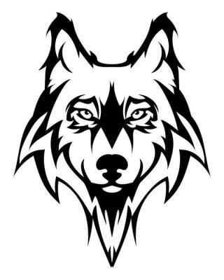 Adesivo testa Bella lupo tattoo.Vector del lupo come un elemento di design su sfondo isolato
