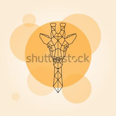 Adesivo Testa di giraffa linee geometriche silhouette isolato su un cerchio arancione. Illustrazione vettoriale