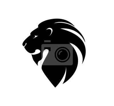 Adesivo testa di leone di profilo. Logo template