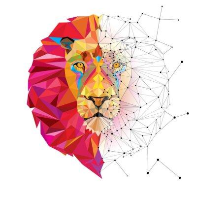 Adesivo Testa di leone in disegno geometrico con la linea stella vettoriale