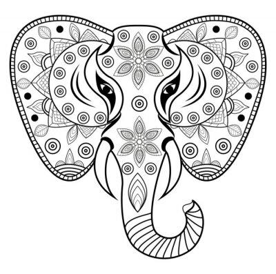 Adesivo testa vettore Elefante decorato di, testa di elefante decorato Vettoriale Isolato su sfondo bianco