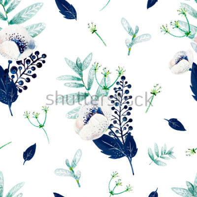 Adesivo Texture consist of white anemones, blue leafs, white inflorescences and mint leafs.