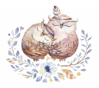 Adesivo Ti amo. Bella illustrazione dell'acquerello con gufi dolci, cuori e fiori in colori impressionanti. Splendida cartolina romantica di San Valentino realizzata con tecnica ad acquerello. San Valenti
