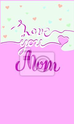 Ti Amo Testo Mamma Su Sfondo Carino Iscrizione Disegnata A Mano