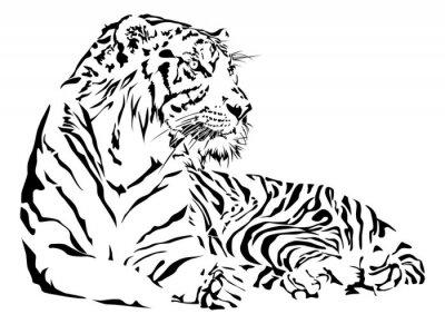 Adesivo Tiger in bianco e nero