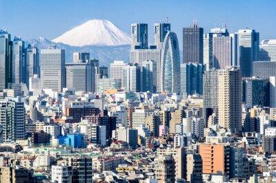 Adesivo Tokyo in inverno con Fujiyama in background