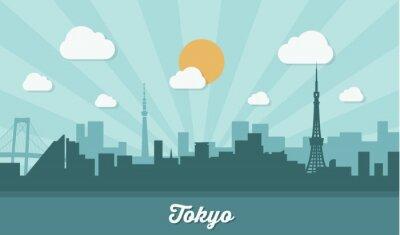 Adesivo Tokyo skyline - design piatto