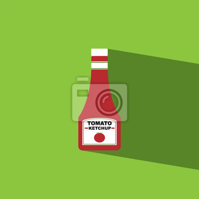 Adesivo tomato sauce bottle flat icon  vector illustration eps10