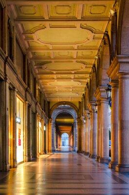 Adesivo Torino (Torino), portici tipici nel centro storico della città vecchia