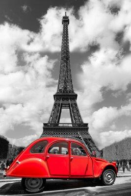 Adesivo Torre Eiffel con il rosso vecchia auto a Parigi, Francia