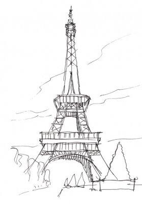 Adesivo Torre Eiffel mano penna di doodle abbozzo