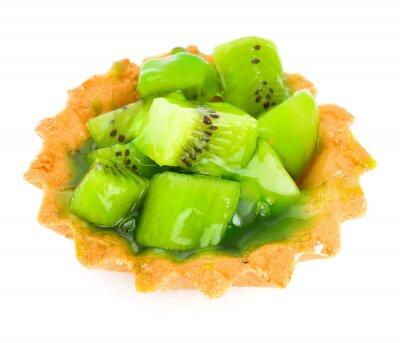 Adesivo Torta con frutta kiwi isolato su bianco