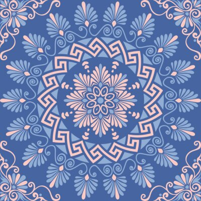 Adesivo Tradizionale rosa d'epoca senza soluzione di continuità, bianco e blu rotonda ornamento floreale greca, Meander