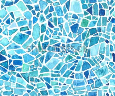 Adesivo Trama mosaico senza soluzione di continuità. Sfondo blu caleidoscopio vettoriale. Motivo geometrico ad acquerello Effetto vetro colorato.