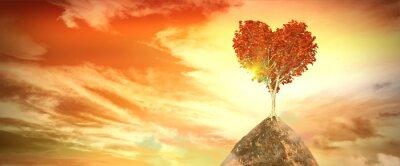 Adesivo Tramonto con albero di cuore