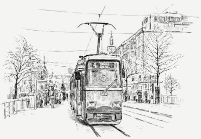 Adesivo tramway in a big city