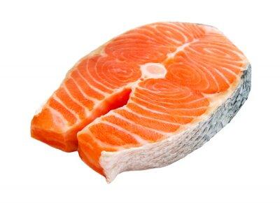 Adesivo Trancio di salmone isolato su sfondo bianco