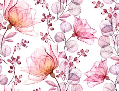 Adesivo Transparent rose watercolor seamless pattern. Hand drawn floral illustration with pink berries for wedding design, surface, textile, wallpaper