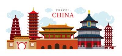 Adesivo Travel China Costruzione e città, destinazione, attrazione, Cultura tradizionale