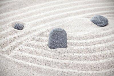 Adesivo Tre pietre in sabbia, concetto zen