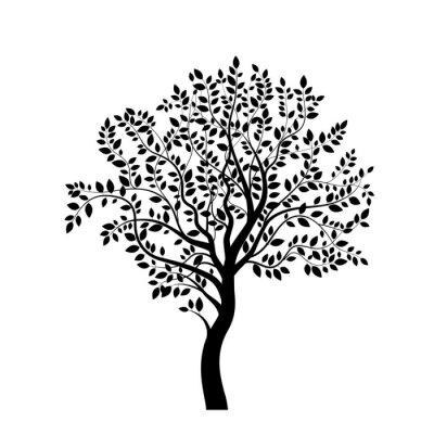 Adesivo Tree black silhouette isolated on white