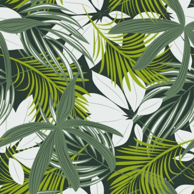 Adesivo Trending abstract seamless pattern with colorful tropical leaves and plants on green background. Vector design. Jungle print. Floral background. Printing and textiles. Exotic tropics. Fresh design.