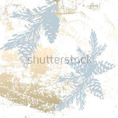 Adesivo Trendy Chic Pastel colorato sfondo con forme di lamina d'oro e sago di alberi di Natale dipinte. Trame insolite astratte per carta da parati, biglietti di auguri, intestazioni, elementi decorati