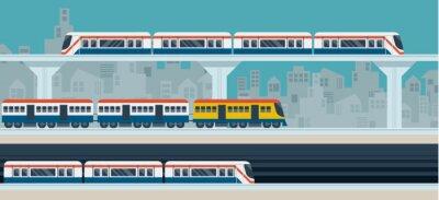 Adesivo Treno, Cielo treno, metropolitana, illustrazione Icone oggetti