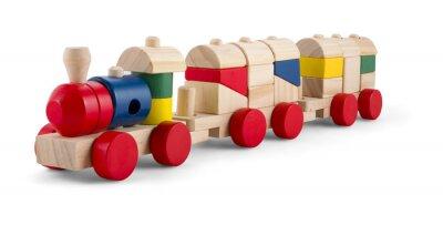 Adesivo Treno di legno del giocattolo con i blocchi colorati isolato su bianco