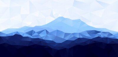 Adesivo Triangolo low poly poligono sfondo geometrico con montagna blu