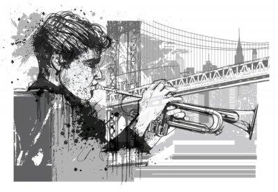 Adesivo Trombettista a New York (Brooklyn)
