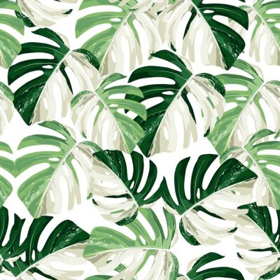 Adesivo Tropic summer painting seamless pattern with exotic monstera leaves.
