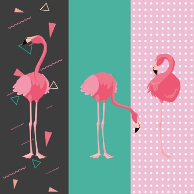 Adesivo tropical flamingo design