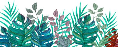 Adesivo Tropical leaves. Watercolor drawing. Green color.