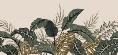 Adesivo Tropical palm leaves, jungle leaves seamless vector floral pattern background.
