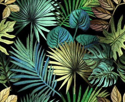 Adesivo Tropical pattern painted with shiny paints.  rose gold tropical leafs