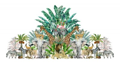 Adesivo Tropical vintage botanical island. Watercolor border with safari animals and palm trees. Exotic jungle wallpaper.