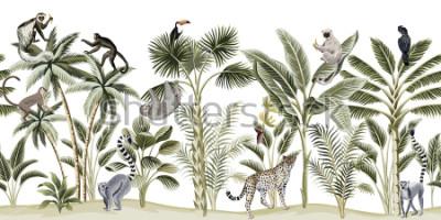 Adesivo Tropical vintage botanical landscape, palm tree, banana tree, plant, sloth, monkey, leopard, lemur, parrot, toucan floral seamless pattern white background. Exotic green jungle animal wallpaper.
