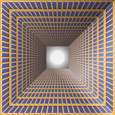 Adesivo Tunnel con pareti a scacchi. Premessa di fondo con l'illusione ottica del movimento.