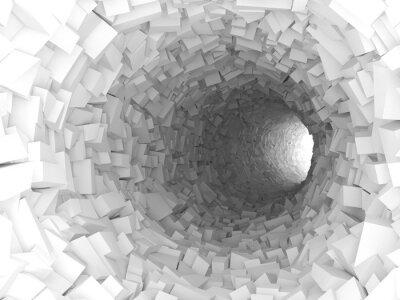 Adesivo Tunnel con pareti in blocchi caotico 3d