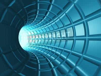 Adesivo Tunnel Web - Un tunnel radiale con una rete prospettiva come griglia.